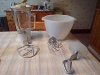 Kenwood A701a bowl, liquidizer & attachments