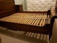 Antique Dark Wood King Size Sleigh Bed