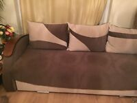 3 Seater Sofa Bed with wooden storage and wooden arms