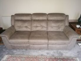 Sofa set - 3 seater, 2 seater, foot stool recliners. Fantastic condition