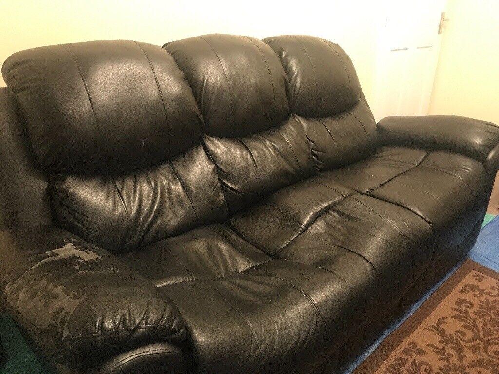 2 Vintage Black 3 Seater Sofas