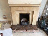 Yellow Limestone Fireplace