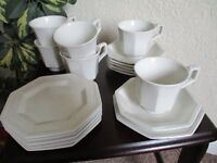 vintage, retro from the 70's - 18 piece white tea set - 6 cups, 6 saucers, 6 teaplates. - £10