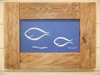 Reclaimed wood framed scalpel art