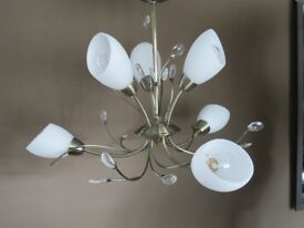 Gold Effect 7 Arm Ceiling Light with Crystals and White Opaque Glass Shades