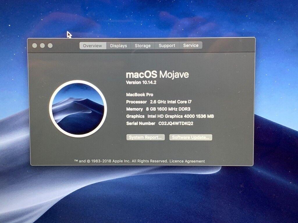 Immaculate Retina Macbook Pro 15 4 Mid 2012 2 6ghz I7 8gb Ram