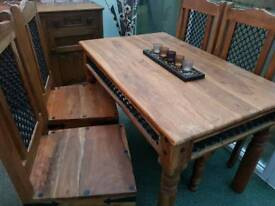 Solid Wood Table, 4 Chairs and Matching Side Board