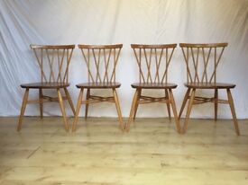 4 four vintage Ercol 376 candlestick lattice dining kitchen chairs