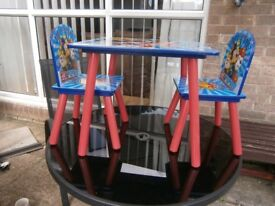 CHILDS PAW PATROL TABLE & CHAIRS