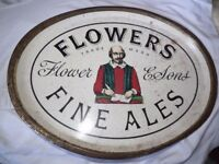 "vintage ""Flowers"" ale tray"