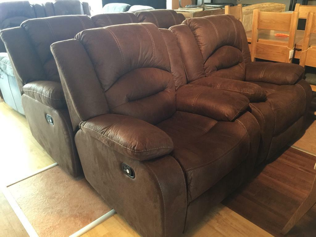 Ex-display/seconds**Brown suede 3+1+1 fully reclining suite - ONLY 520