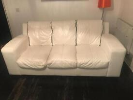 2 3 seater white leather couch