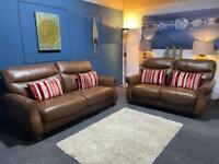 Beautiful dark tan leather suite. 3 + 2 seater sofas