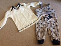Micky Mouse dungarees and top 6-9 months