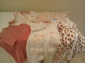 Six Sleepsuits for Baby Girl