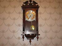 as new wooden clock with open glass door