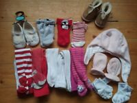 Baby girl clothing bundle size 9-12 months, dresses, shoes, sleepsuits, tights and vests