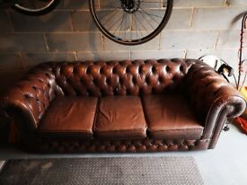 Vintage 3-seater brown leather chesterfield