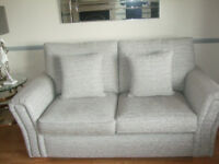 3 Peice Suite Fabric Stone Grey Cushions Reversable Ex Sterling 18 Months Old £850.00