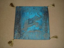 New Unused Cusion covers silk Torquoise blue with Gold tassels