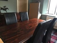 Hardwood Dining Room Table 6 Faux Leather Chairs And Matching Sideboard