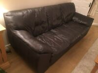 LEATHER SETTEE IN BROWN 3 SEATER
