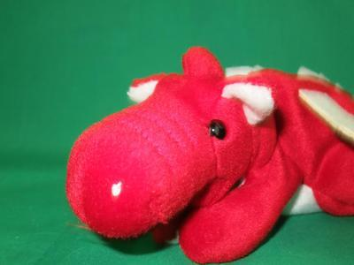 Dragon Systems Inc  Red White Beanbag Flying Winged Dragon Plush Toy