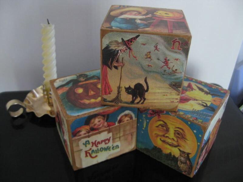 Primitive Halloween Shelf Sitter Blocks 4 X 4 Set of 3 Vintage Images