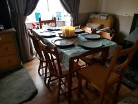 Farm house chunky table and 6 chairs