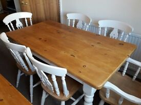Solid Pine Table & Chairs, Good restoration project.