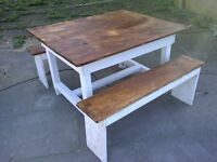 rustic reclaimed table apox 4ft x 3ft and 2 benches farmhouse cottage