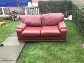 Brown leather sofa/bed
