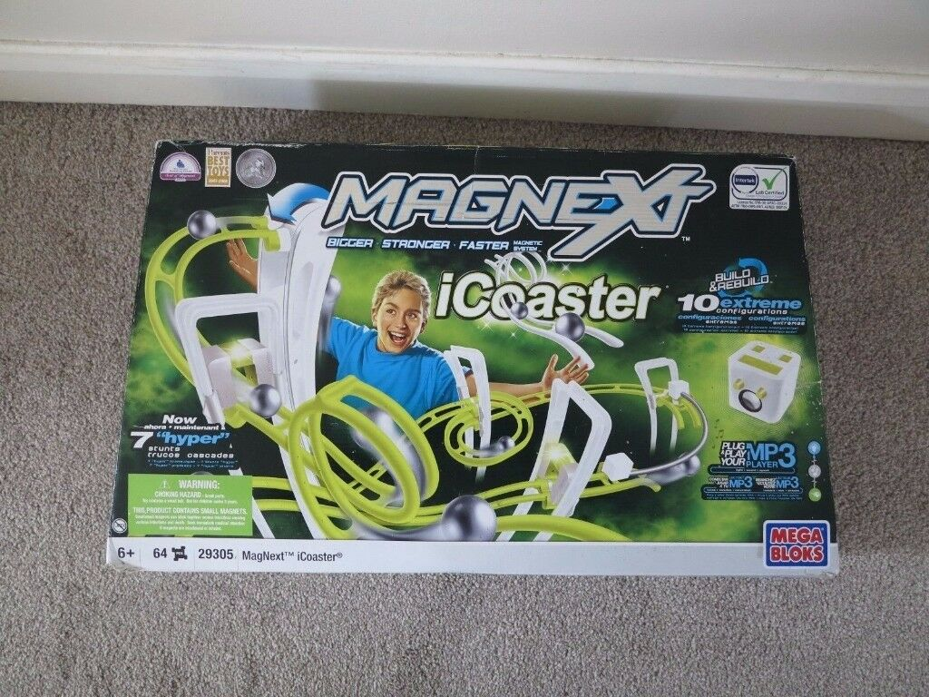Mega-Bloks-icoaster-29305-Magnext-marble-run-rollercoaster-Excellent-cond-boxed