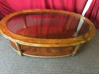 WOODEN OVAL COFFEE TABLE WITH GLASS TOP,CAN DELIVER