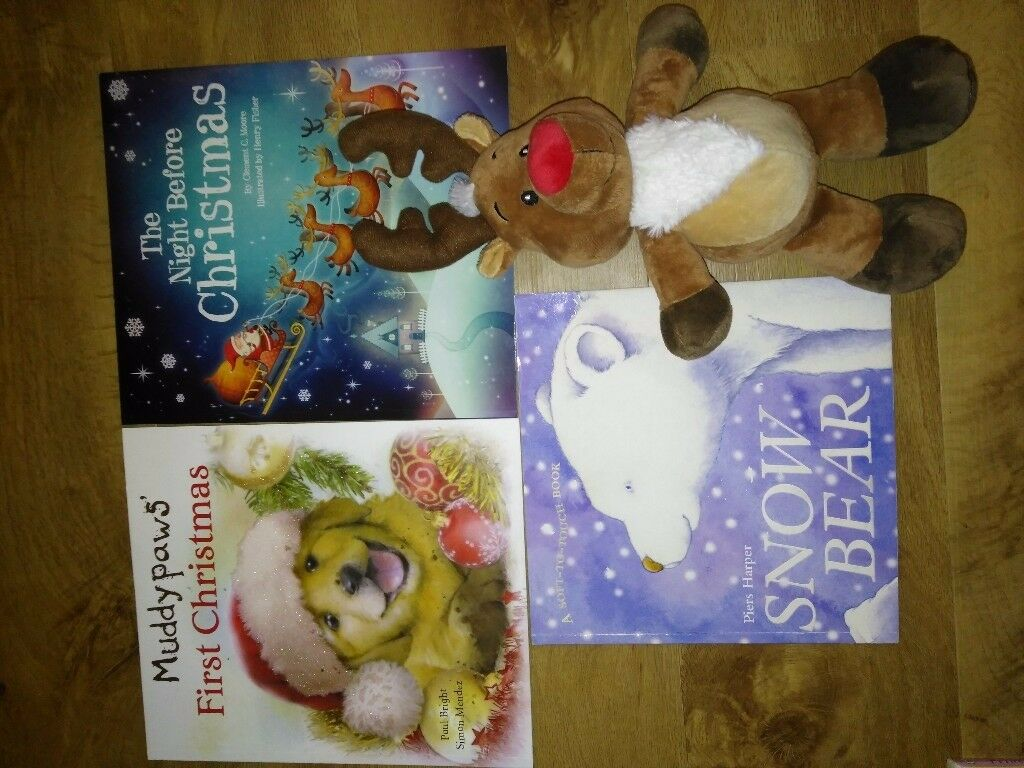 Bundle of new & used children's Christmas books & toy reindeer (stocking filler?)