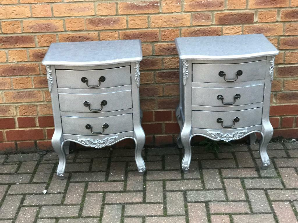 Silver bedside drawers
