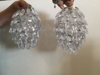 Two Crystal Effect Hanging Lamp Shades