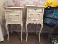 ORIGINAL ANTIQUE FRENCH SHABBY CHIC BEDSIDE TABLES