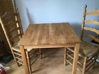 Small oak table and 2 chairs