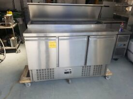 3 DOOR STAINLESS STEEL SALADETTE PIZZA TOPPING FRIDGE AST242