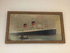 RMS MAURETANIA ocean liner ship antique picture. Late 1930s, pre WWII