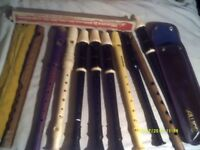 RECORDERS , QUITE a COLLECTION 8 or 9 AULOS , SCHOTTS etc SOME in CASES & V.G.C.+++