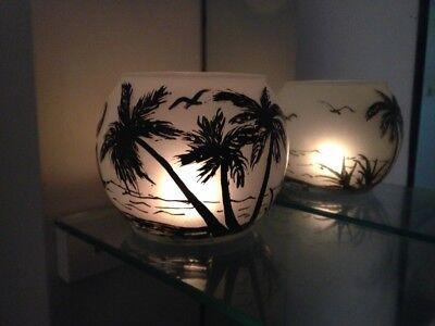 Candle Holders Set Of 2 Hand Painted Tea Light beach Wedding & dinner -