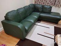Genuine leather corner sofa.