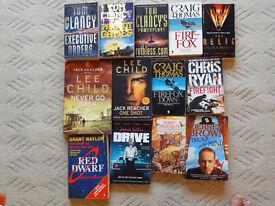 Various books inc. Tom Clancy, Derren Brown, Lee Child, Craig Thomas, Chris Ryan, Red Dwarf, Drive