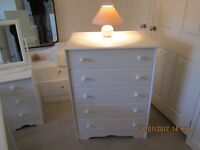 MODERN CHEST OF FIVE DRAWERS PAINTED LAURA ASHLEY COUNTRY WHITE