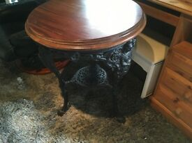 Original bar table with cast iron base