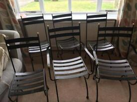 Set of 6 wrought iron chairs