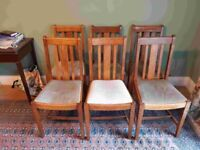 Set of 6 1950's Oak Dining Chairs - used by our family for 70 years