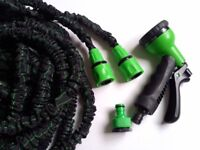 EXPANDING EXPANDABLE ELASTIC COMPACT GARDEN HOSE PIPE WITH SPRAY 75FT and 100FT